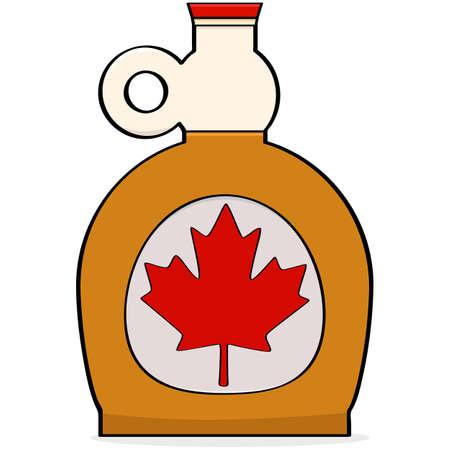 in syrup: Ilustración de dibujos animados que muestra una botella de jarabe de arce canadiense
