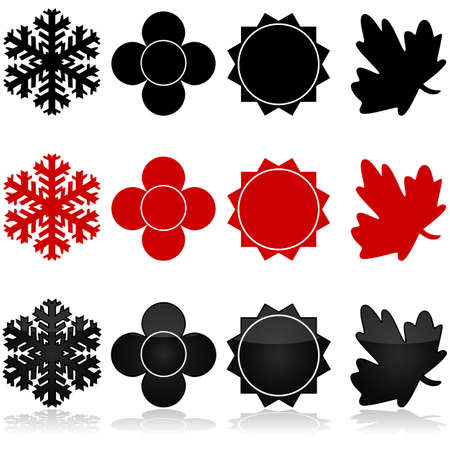 hot temperature: Icon set showing the four different seasons