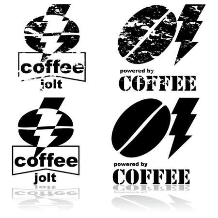 jolt: Concept illustration showing a coffee bean and a lightning bolt Illustration