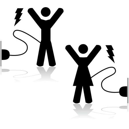 willingness: Concept illustration showing a man and a woman energized by being wired to an electric outlet Illustration
