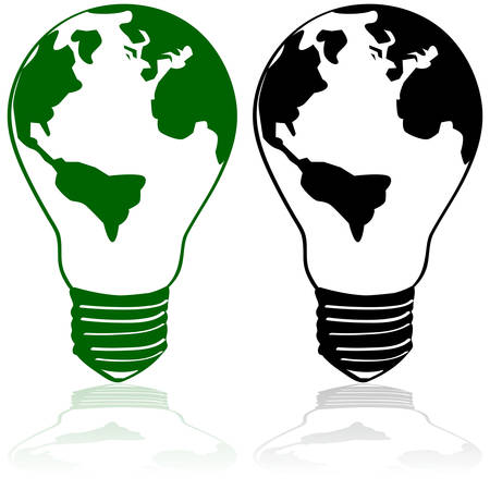 電球内部地球の大陸を示す概念図  イラスト・ベクター素材