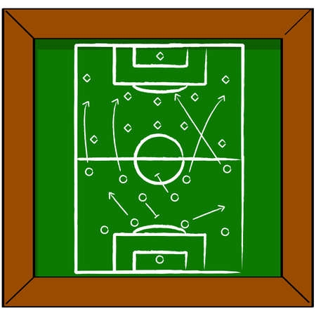 blackboard cartoon: Cartoon illustration showing a soccer pitch drawn on a blackboard with some tactics for a match