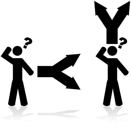 faced: Concept illustration showing a person in doubt when faced with two options Illustration