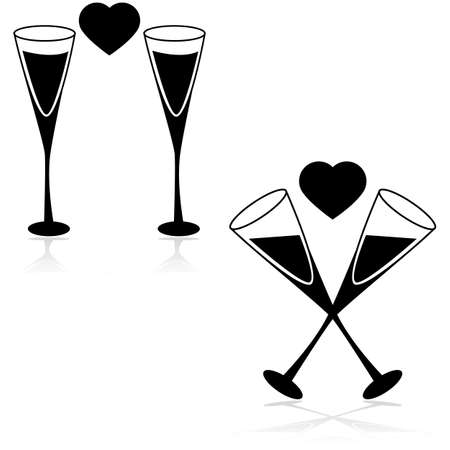 champagne celebration: Icon set showing two champagne glasses with a heart in between them