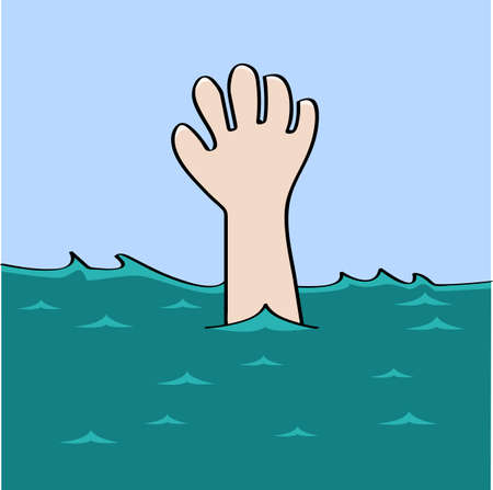 drown: Cartoon illustration showing a hand desperately waiting for help as a person drowns Illustration