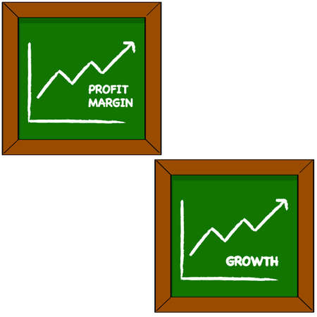 Cartoon illustration showing a blackboard with the drawing of a graph portraying profits and growth for a company