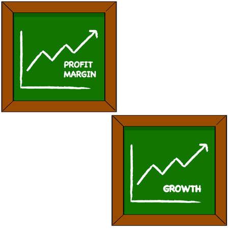 margen: Ilustración de dibujos animados que muestra una pizarra con el dibujo de un gráfico representando beneficios y crecimiento para una empresa