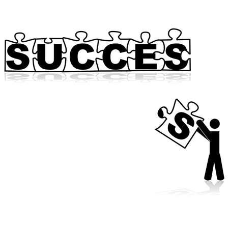 単語を形成する成功する行方不明の部分を運ぶ人を示す概念図  イラスト・ベクター素材