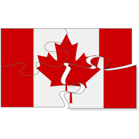 assembled: Concept illustration showing a flag of Canada being assembled from puzzle pieces Illustration