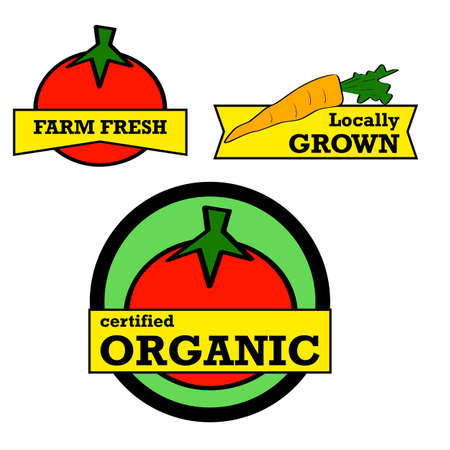 fresh produce: Labels and stickers showing fresh produce with positive messaging
