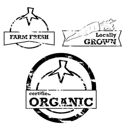 fresh produce: Labels and stamps showing fresh produce with positive messaging