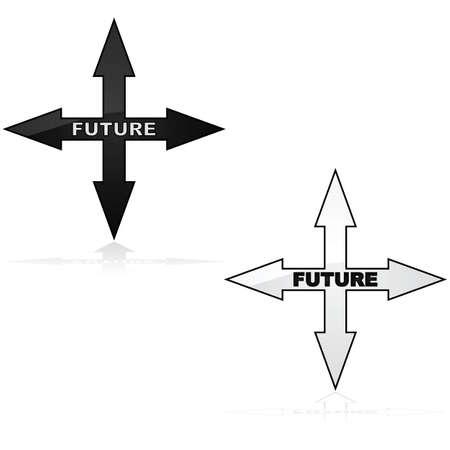 backwards: Concept illustratie toont een pictogram met pijlen aangegeven in vier richtingen en het woord toekomst binnen van het