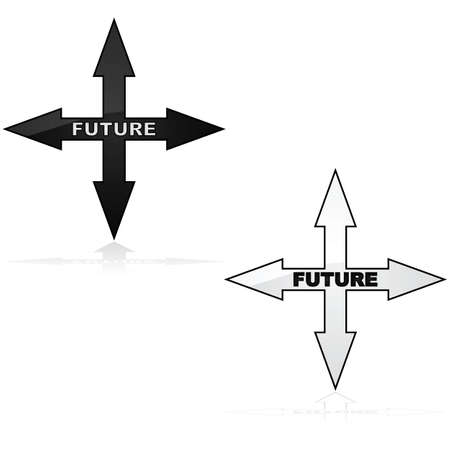 pointed arrows: Concept illustration showing an icon with arrows pointed in four directions and the word future inside of it Illustration