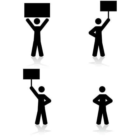picket: Concept illustration showing stick figures in protests Illustration