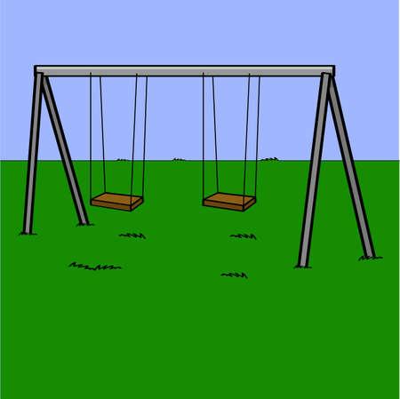 Cartoon illustration showing an abandoned playground swing set