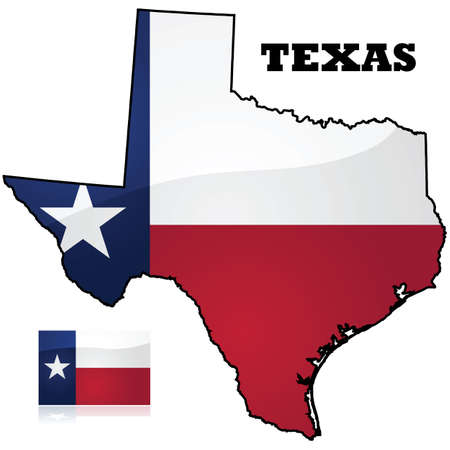 flags usa: Map and flag of the state of Texas, in the United States of America