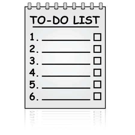Cartoon illustratie toont een paper pad met een To Do List Vector Illustratie