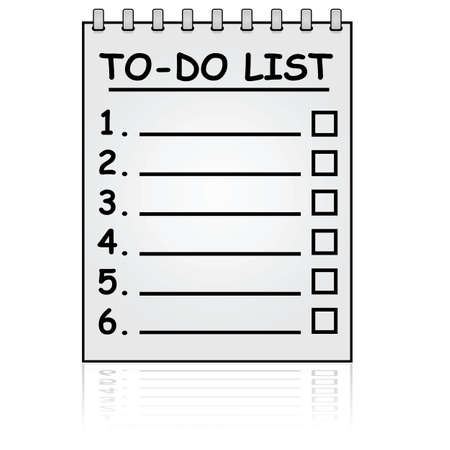 Cartoon illustration showing a paper pad with a To Do List Vector