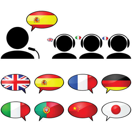 english culture: Concept illustration showing a person talking in one language and three other people listening in their own language using headphones