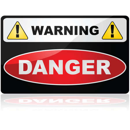 Glossy illustration showing a Warning Danger sign Çizim
