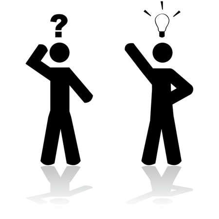 Concept illustratie toont een man in twijfel en een ander met een idee