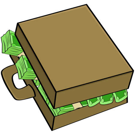 Cartoon illustration showing a suitcase filled with money