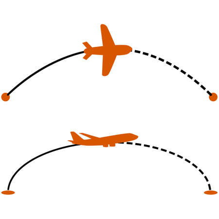 dashed line: Concept illustration showing a plane following a line indicating its route Illustration