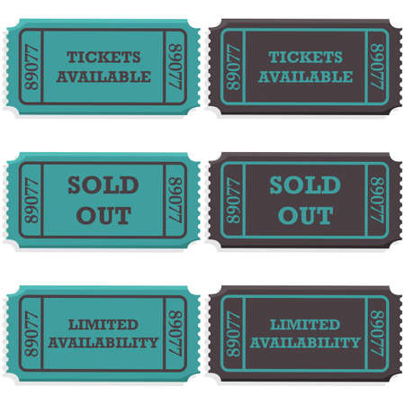 Concept illustration showing ticket stubs with a message saying if they are still available or if they are sold out