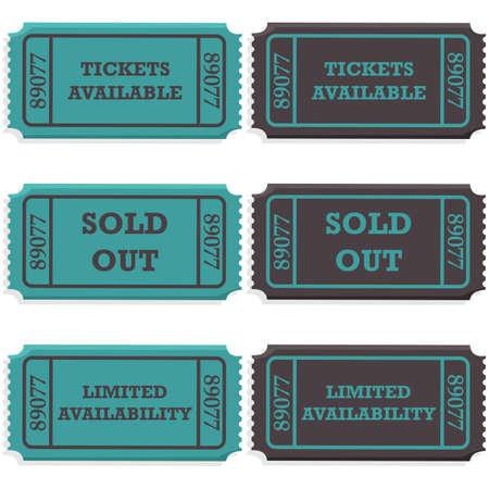 presencia: Concepto ilustraci�n que muestra talones de boletos con un mensaje que dice si todav�a est�n disponibles o si se venden fuera