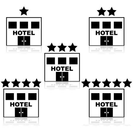 preference: Icons of a hotel building with different star ratings on top of them Illustration