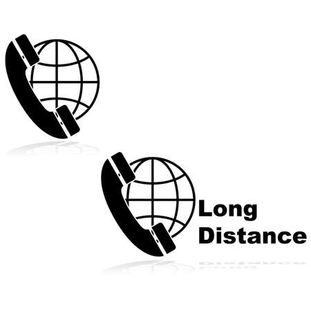 long distance: Icons showing a telephone in front of a globe, indicating long distance calls Illustration