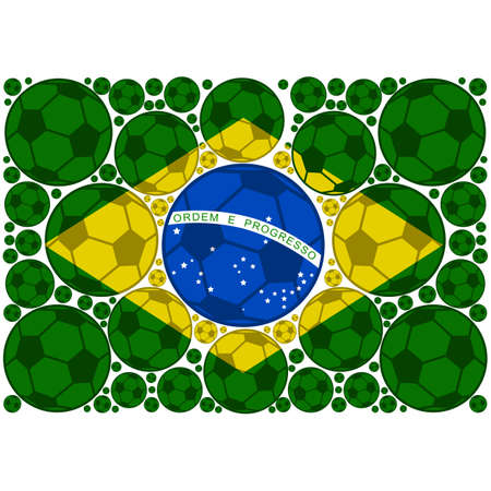 Concept illustration showing the flag of Brazil made up of colored soccer balls