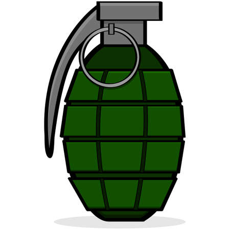 grenade: Cartoon illustration showing a green hand grenade