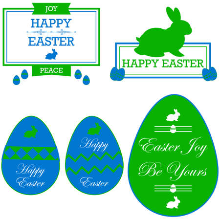 Cards and stickers in green and blue, showing Happy Easter messages Vector