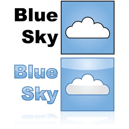 Concept illustration showing a blue sky with a white cloud and the words blue sky beside it