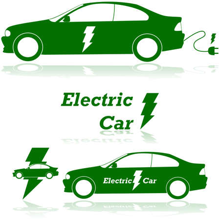 Concept illustration showing an electric car with a lightning bolt and an electrical plug Vector