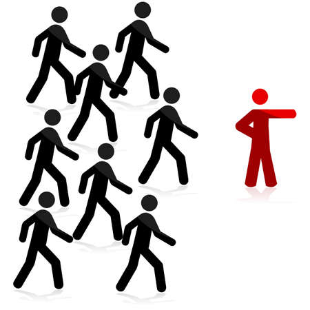 examples: Concept illustration showing a red man pointing forward and a group of people following Illustration