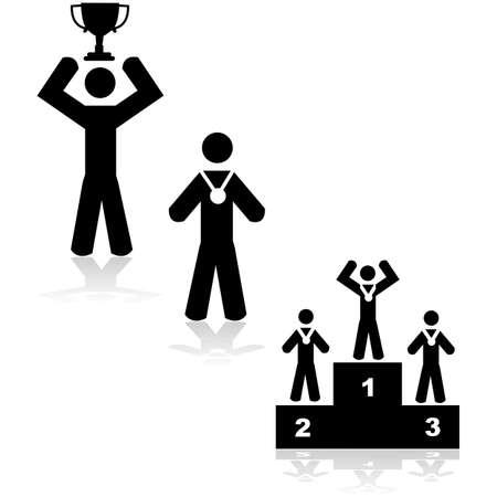 adversaire: Concept illustration montrant trois situations diff�rentes: gagnant avec un troph�e, une m�daille ou un podium