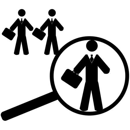 ideal: Concept illustration showing a magnifying glass finding a worker suitable for a job position Illustration