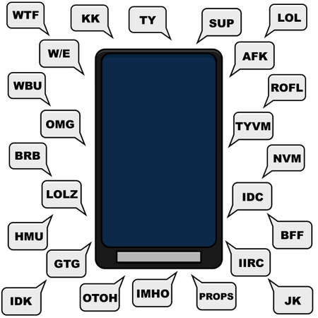 lingo: Concept illustration showing a smartphone and different text bubbles with abbreviations an lingo normally used in texting