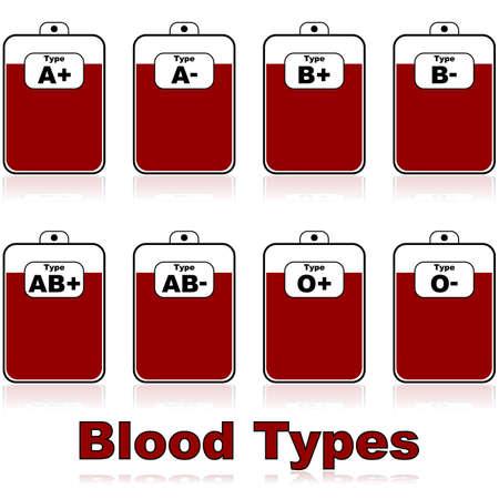 血液バッグ内の別の血液型のアイコンの図  イラスト・ベクター素材