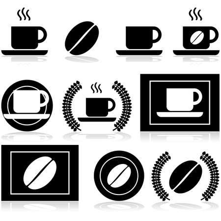Icon set showing a cup of coffee and a coffee bean in different arrangements and with other elements