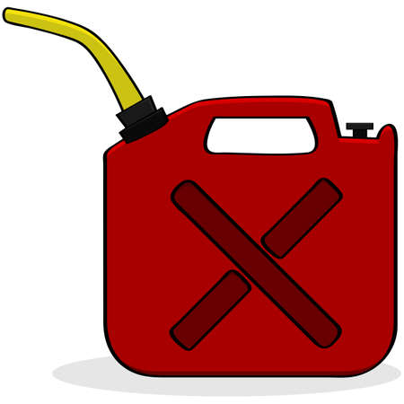 Cartoon illustration showing a red fuel container Illusztráció