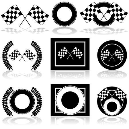 bandera carrera: Conjunto de iconos que muestra un par de banderas a cuadros y un neumático instalado en diferentes arreglos Vectores