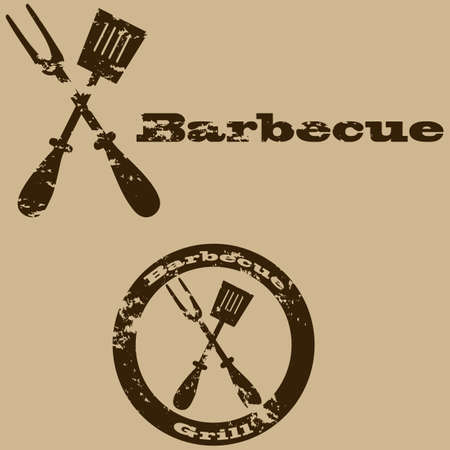 Concept illustration showing a vintage sign for a barbecue Vector