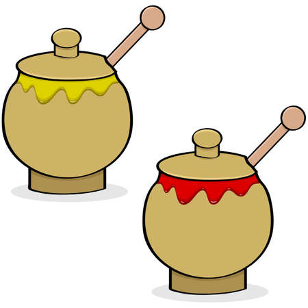 Cartoon illustration showing a pot of mustard and another one of ketchup