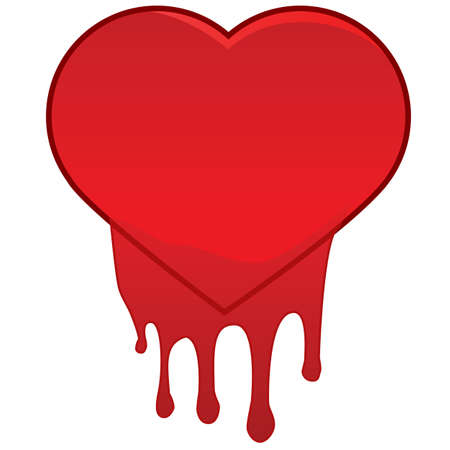 heart attack: Concept illustration showing a red heart bleeding