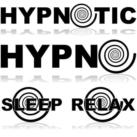 hypnosis: Icon set showing a hypnosis spiral in combination with certain words normally associated with this practice Illustration