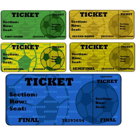 Cartoon illustration showing blank soccer (football) tickets in different colors Ilustração