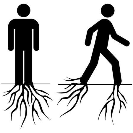 sedentario: Concepto ilustración que muestra un hombre de pie clavado en el suelo y luego empezar a moverse